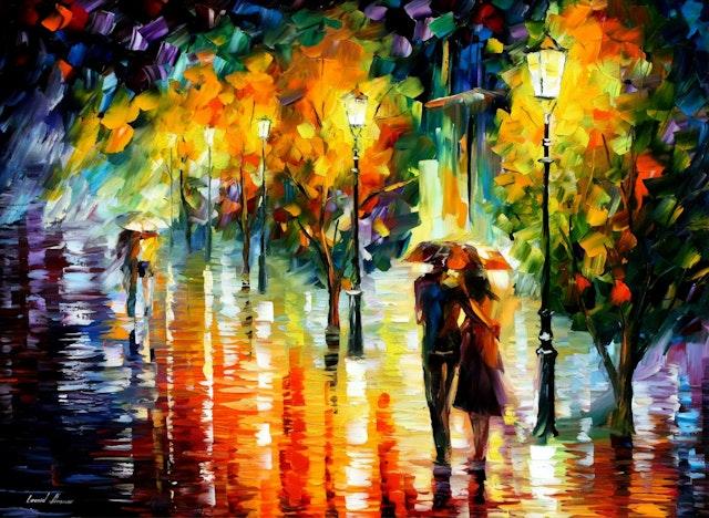 Couple Under One Umbrella